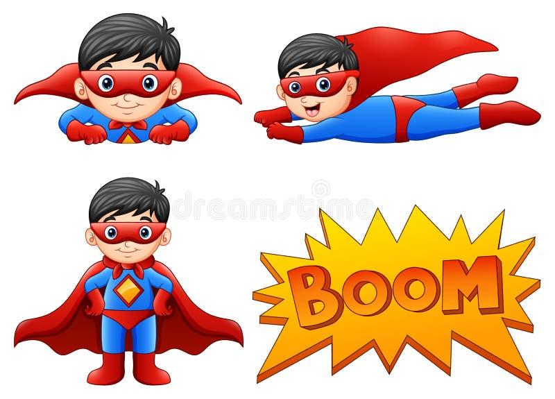 Uppsättningen av bärande superherodräkter för pojke med olikt poserar stock illustrationer