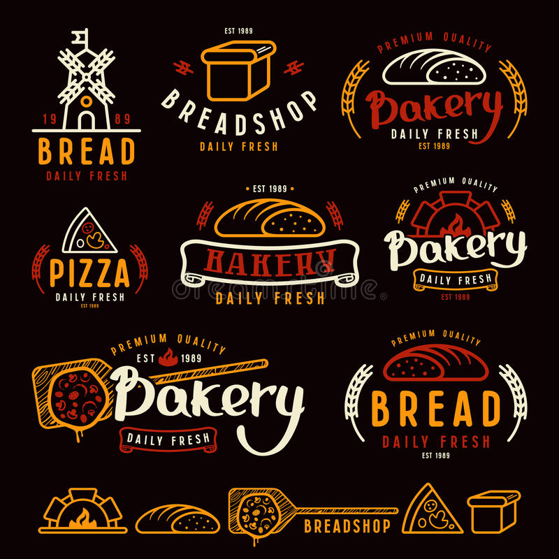 Uppsättningen av bagerit märker, emblem och designbeståndsdelar royaltyfri illustrationer