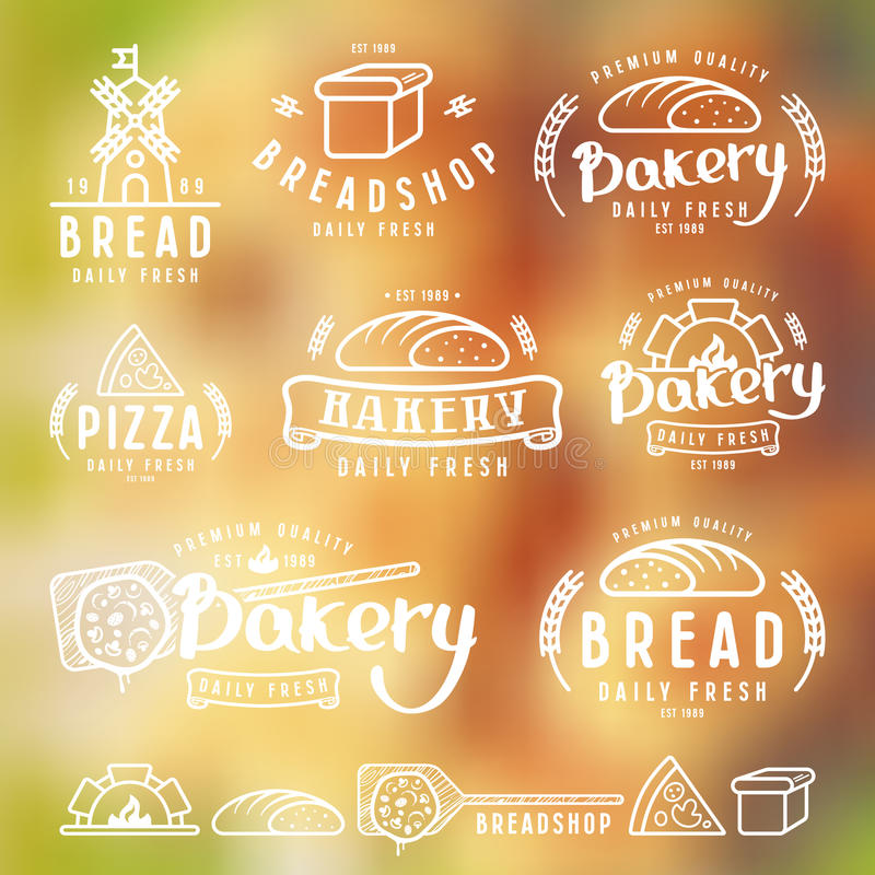 Uppsättningen av bagerit märker, emblem och designbeståndsdelar vektor illustrationer