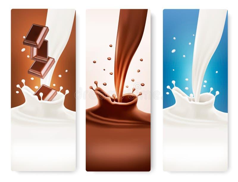 Uppsättningen av baner med choklad och mjölkar färgstänk stock illustrationer