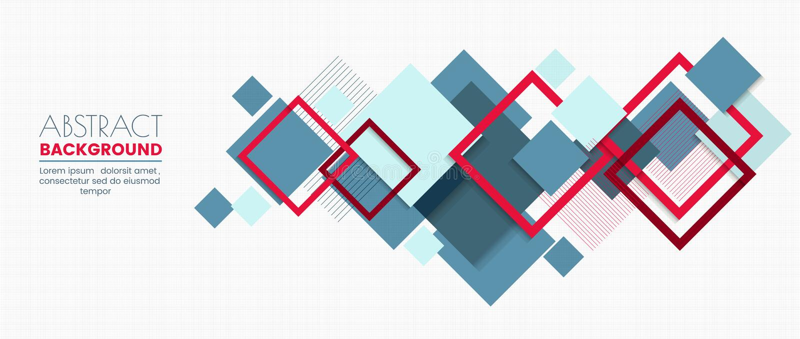 Uppsättningen av banermallen för den moderna designen med abstrakta färgrika fyrkanter formar modellbakgrund royaltyfri illustrationer