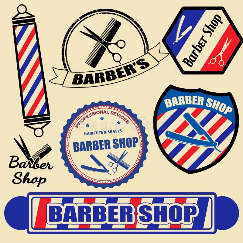 Uppsättningen av barberaren shoppar etiketter och stämplar royaltyfri illustrationer