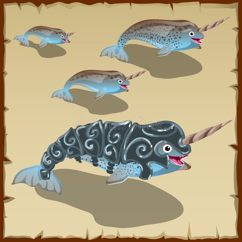 Uppsättningen av barn och vuxen människagrå färger fiskar med hornet vektor illustrationer