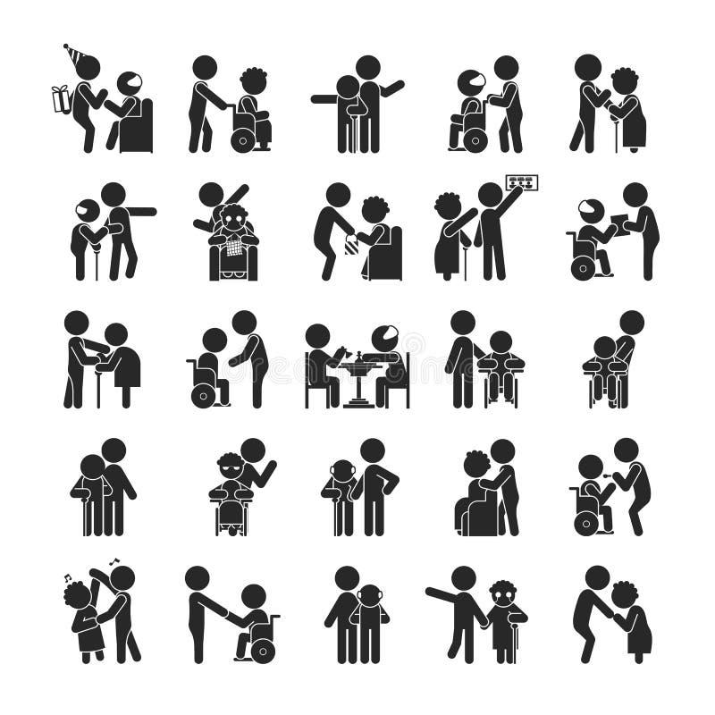 Uppsättningen av barn ställa upp som frivillig teckenet, mänskliga pictogramsymboler royaltyfri illustrationer