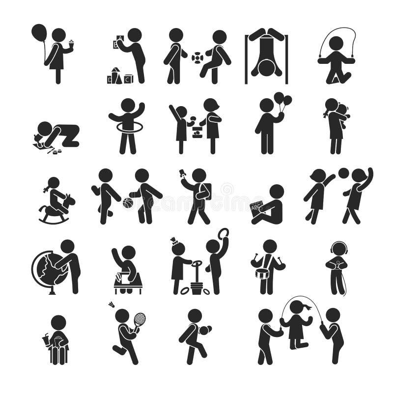 Uppsättningen av barnaktiviteter spelar och lär, mänskliga pictogramsymboler vektor illustrationer
