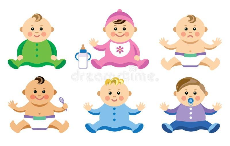 Uppsättningen av behandla som ett barn i plan stil vektor illustrationer