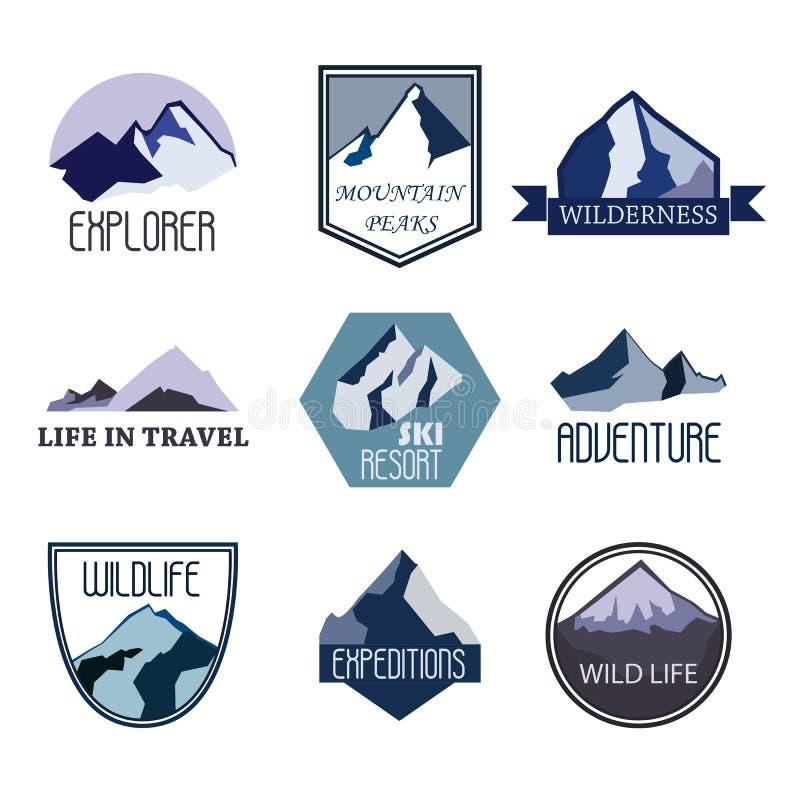 Uppsättningen av bergaffärsföretag- och expeditionlogoen förser med märke samlingar Loppemblemvektor royaltyfri illustrationer