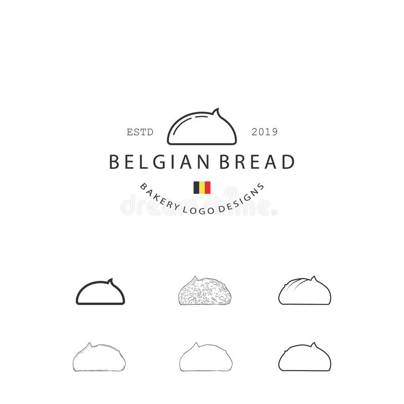 Uppsättningen av beståndsdelar för vektorbageribakelse och brödsymbolsillustrationen kan användas som logo eller symbol i högvärd stock illustrationer