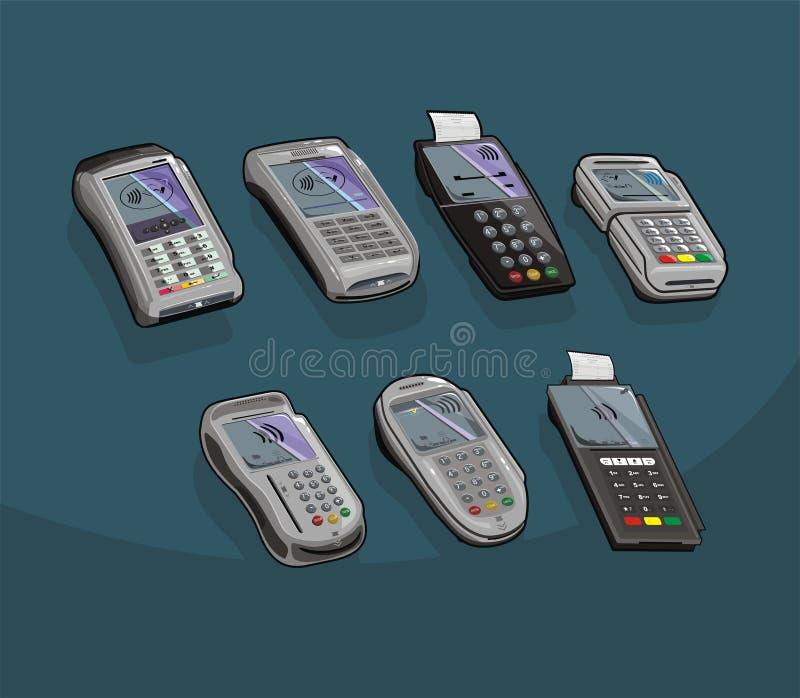 Uppsättningen av betalning skriver pos.-terminalen, vektordesign stock illustrationer