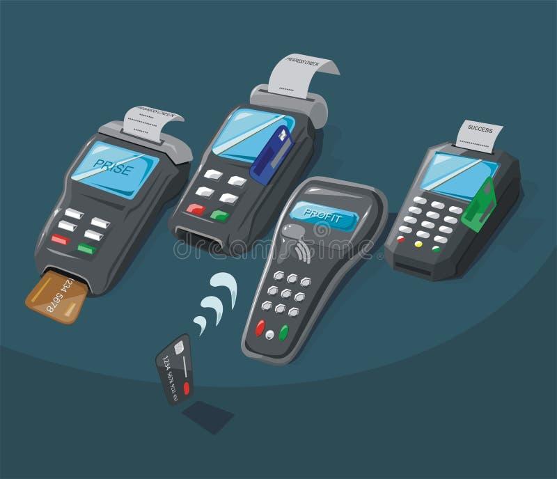 Uppsättningen av betalning skriver terminalen med kreditkorten stock illustrationer