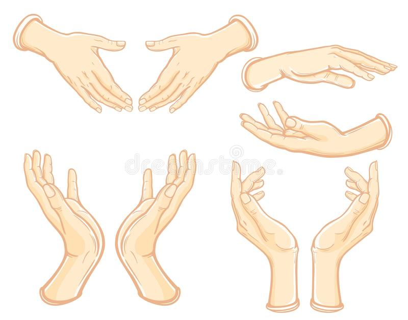 Uppsättningen av bilder av mänskliga händer i olikt poserar stock illustrationer