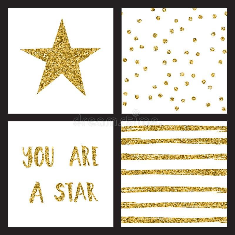 Uppsättningen av blänker guld- designkort med stjärnor också vektor för coreldrawillustration stock illustrationer