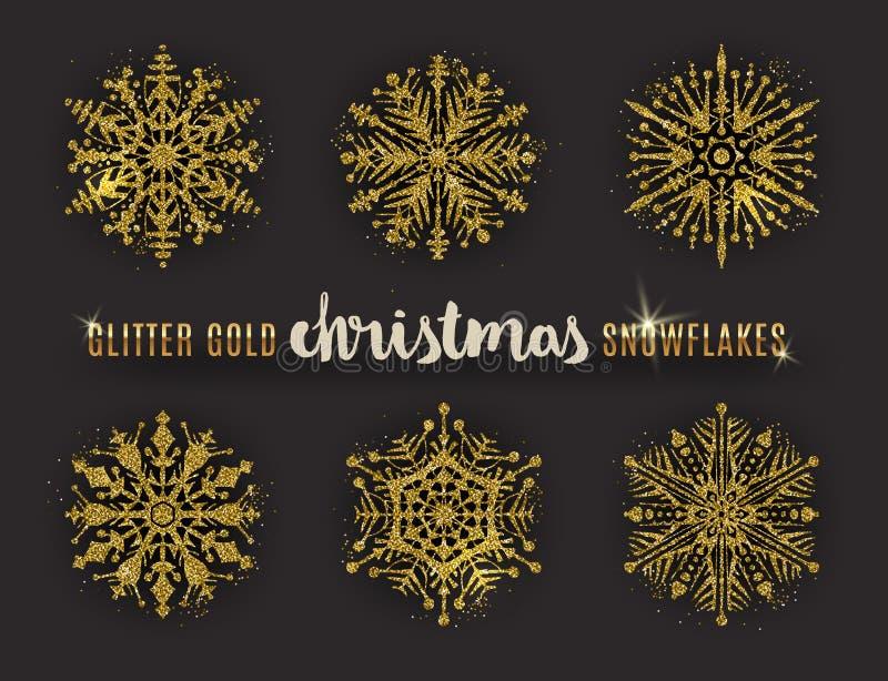 Uppsättningen av blänker guld- utsmyckade snöflingor vektor illustrationer