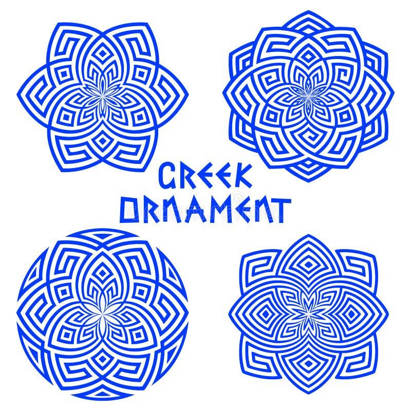 Uppsättningen av blått planlägger beståndsdelar med grekiska motiv som isoleras på vit bakgrund royaltyfri illustrationer