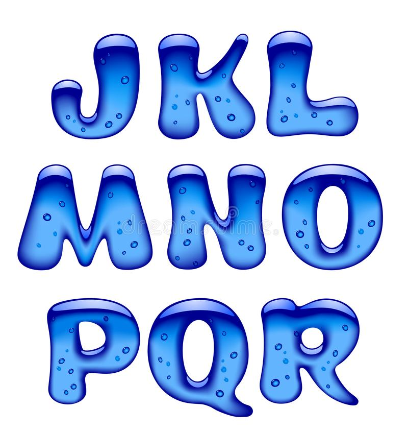 Uppsättningen av blått stelnar, is- och karamellisolat för alfabetversalar vektor illustrationer