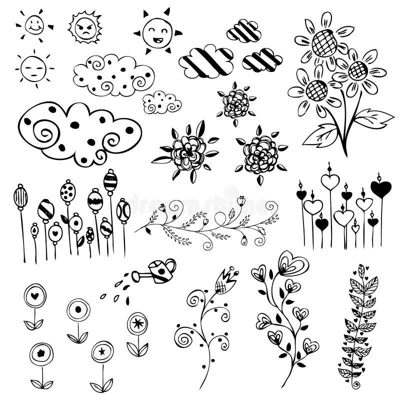 Uppsättningen av blomman skissar vektorn vektor illustrationer