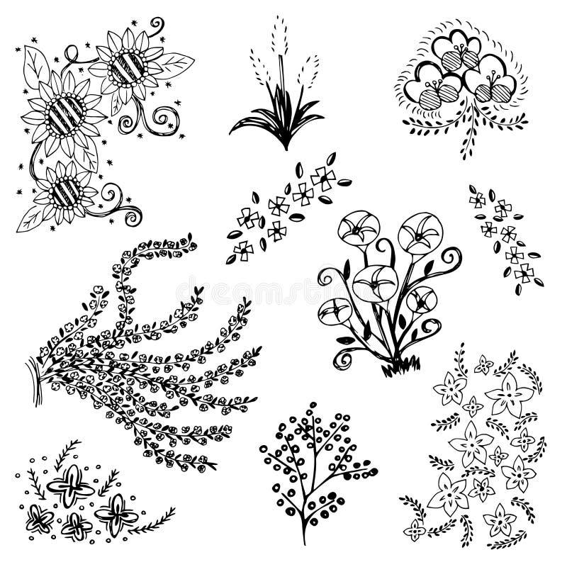 Uppsättningen av blomman skissar vektorn, fria händerteckningsklotter skissar på vit bakgrund royaltyfri illustrationer
