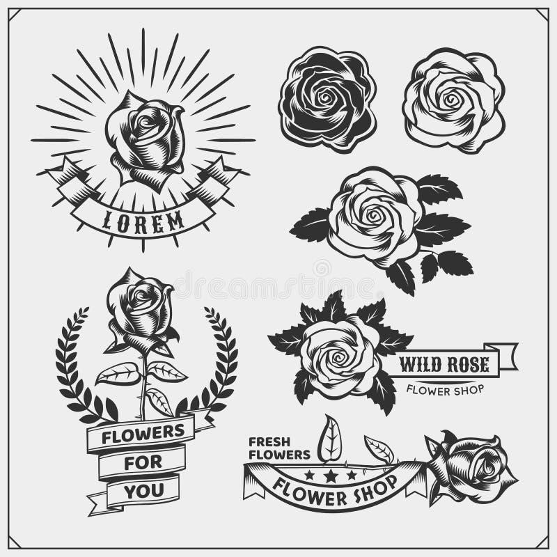 Uppsättningen av blomsterhandelemblem, logoer, förser med märke, etiketter och designbeståndsdelar royaltyfri illustrationer