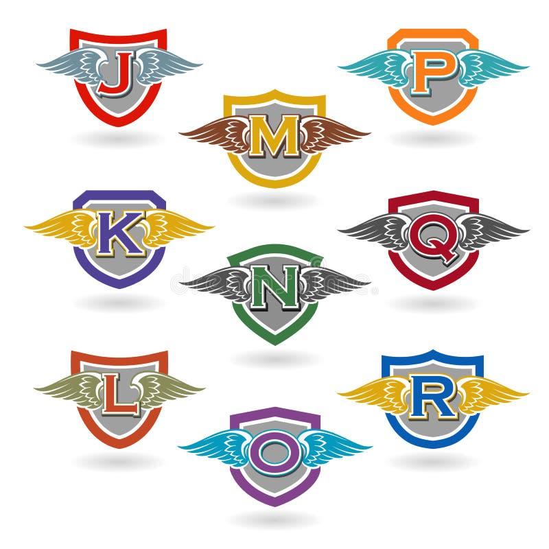 Uppsättningen av bokstaven förser med märke med vingar för logoer, t-skjortor, skola eller klubbavapen stock illustrationer