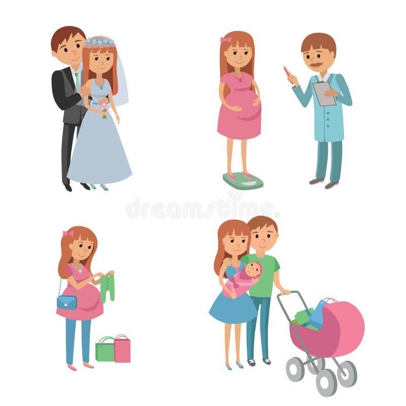 Uppsättningen av brölloppar, gravida föräldrar, den unga familjen med behandla som ett barn royaltyfri illustrationer