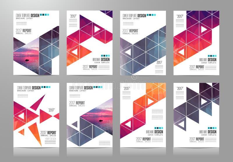 Uppsättningen av broschyrmallar, reklamblad planlägger eller räkningar stock illustrationer
