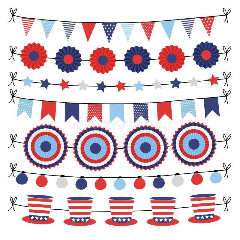 Uppsättningen av buntingpapper sjunker girlander Festa garneringar, rengöringsdukbaner i USA flaggafärger Isolerade vektorillustr stock illustrationer