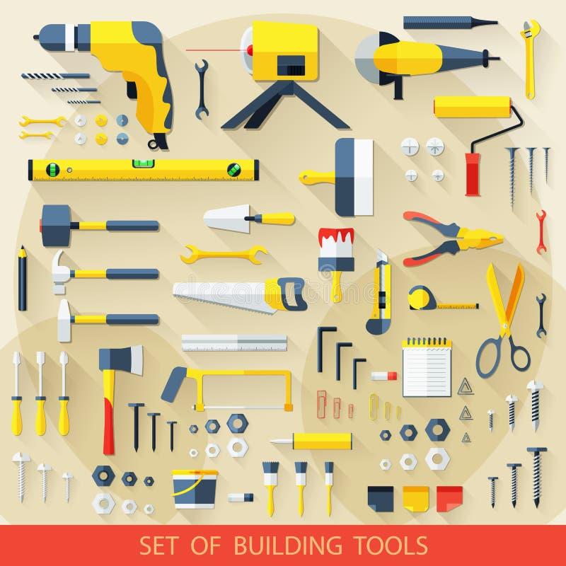 Uppsättningen av byggnad bearbetar stock illustrationer