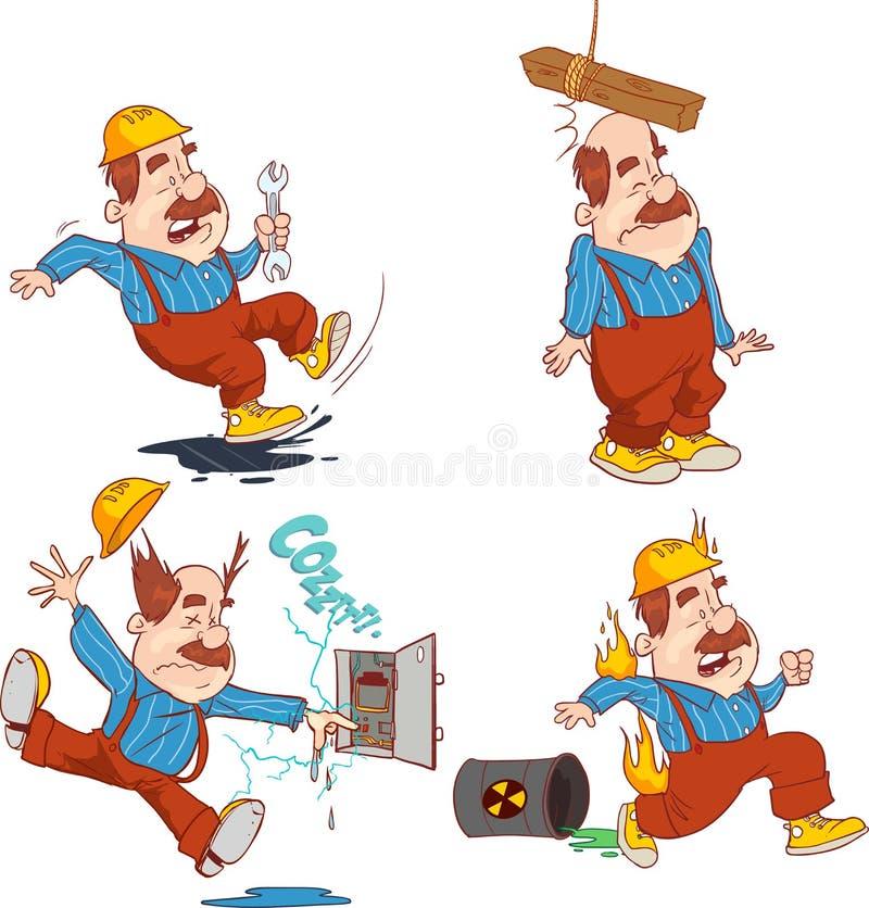 Uppsättningen av byggnadsarbetaren, olycksarbete, säkerhet första, läker royaltyfri illustrationer