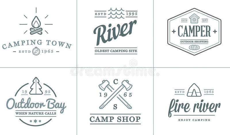 Uppsättningen av campa lägerbeståndsdelar för vektor och symbolsillustrationen för utomhus- aktivitet kan användas som logo vektor illustrationer