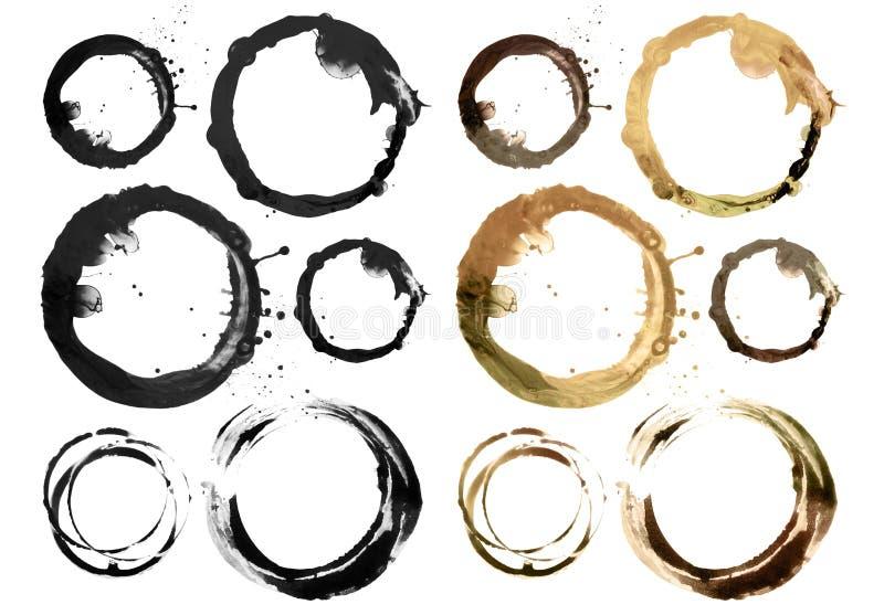 Uppsättningen av cirkelakryl och den målade vattenfärgen planlägger beståndsdelen royaltyfria foton