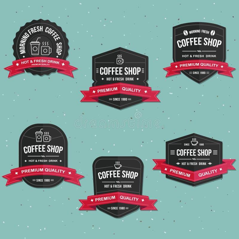 Uppsättningen av coffee shopetiketter, banret och emblemvektorn ställde in royaltyfri illustrationer