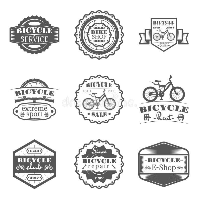 Uppsättningen av cykeln shoppar, hyr, servar, försäljningen, klubban, reparation i monokromma stillogoer, emblem, märker och förs royaltyfria foton