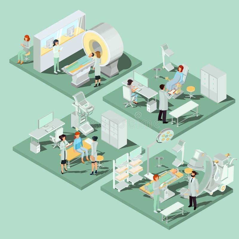 Uppsättningen av 3D sänker isometriska illustrationer av medicinsk lokal i kliniken med den lämpliga utrustningen vektor illustrationer