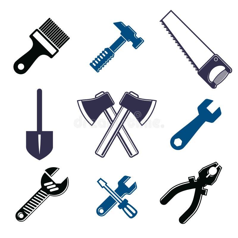 Uppsättningen av 3d specificerade hjälpmedel, reparationstema stiliserade grafiska beståndsdelar royaltyfri illustrationer