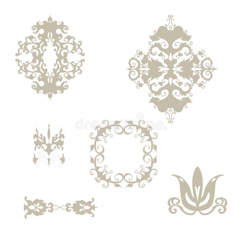 Uppsättningen av damast mönstrar beståndsdelar royaltyfri illustrationer