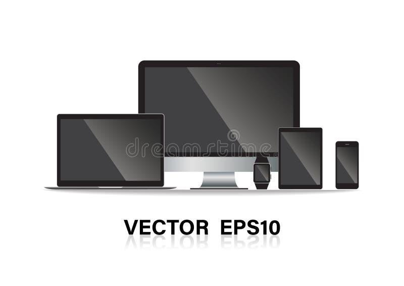 Uppsättningen av datorbildskärmen, bärbara datorn, minnestavlan, mobiltelefoner ilar telefonen också vektor för coreldrawillustra stock illustrationer