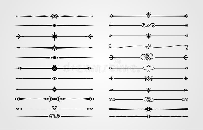 Uppsättningen av dekorativa gränser och krusidullhörn, den kungliga prydnaden virvlar runt och tappningsidaavdelare Klassiska gar royaltyfri illustrationer