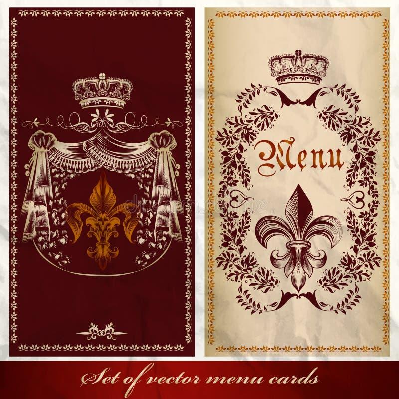 Uppsättningen av den antika menyn planlägger lyxig stil royaltyfri illustrationer