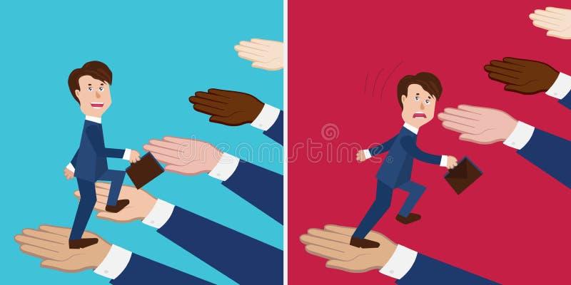 Uppsättningen av den begreppsföretagsstöd och kollapsen, lagbyggnad och bedrägeri, samarbete och ingen solidaritet, man går upp royaltyfri illustrationer
