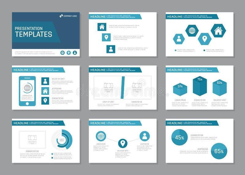Uppsättningen av den blåa mallen för presentation som kan användas till mycket glider, infographic beståndsdelar Broschyr årsrapp vektor illustrationer