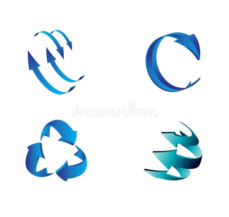 Uppsättningen av den blåa pilen 3D undertecknar symbolvektorn stock illustrationer