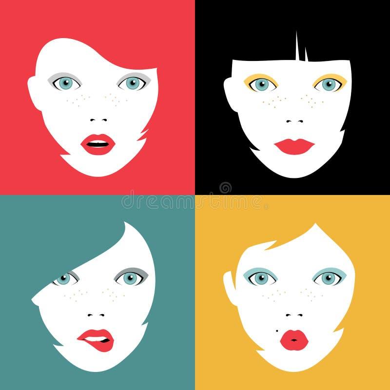 Uppsättningen av den färgrika flickan vänder mot begreppsillustrationer vektor illustrationer