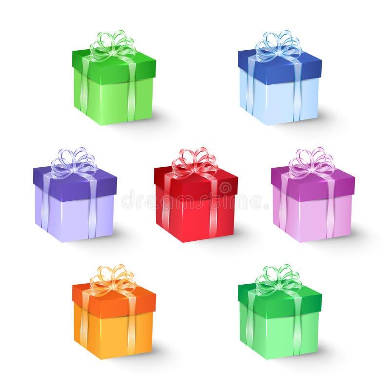 Uppsättningen av den färgrika gåvan boxas med pilbågar och band vektor illustrationer