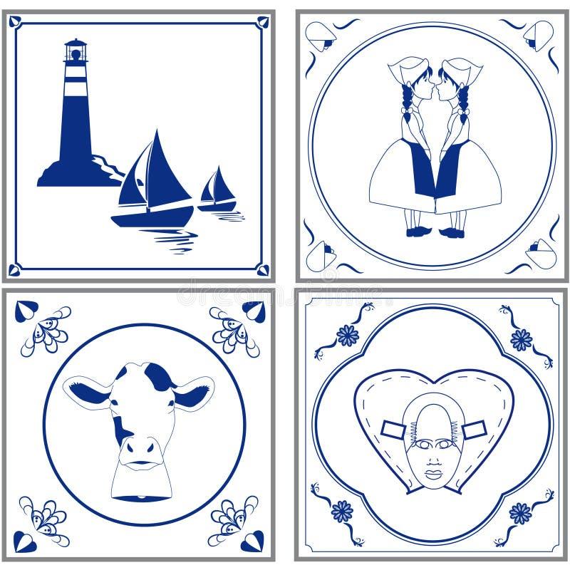 Holländare belägger med tegel royaltyfri illustrationer