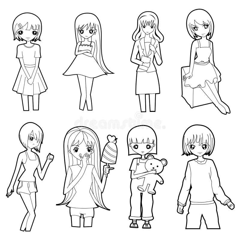 Uppsättningen av den gulliga flickatecknad filmteckningen skissar i den svarta linjen vektor på en vit bakgrund vektor illustrationer