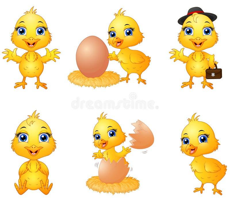 Uppsättningen av den gulliga tecknade filmen behandla som ett barn fågelungen stock illustrationer