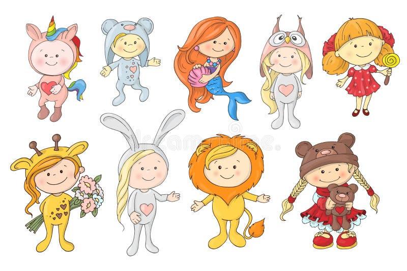 Uppsättningen av den gulliga tecknade filmen behandla som ett barn i hattar av olika djur vektor illustrationer