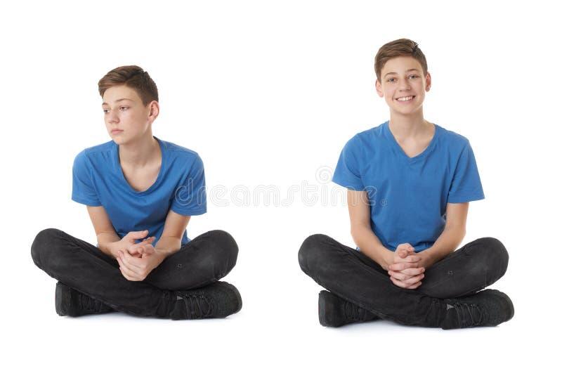 Uppsättningen av den gulliga tonåringpojken över vit isolerade bakgrund royaltyfri foto