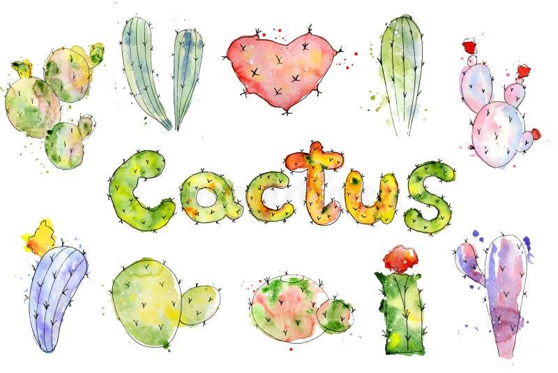 Uppsättningen av den högkvalitativa handen målade kaktusvattenfärgkakturs royaltyfri illustrationer