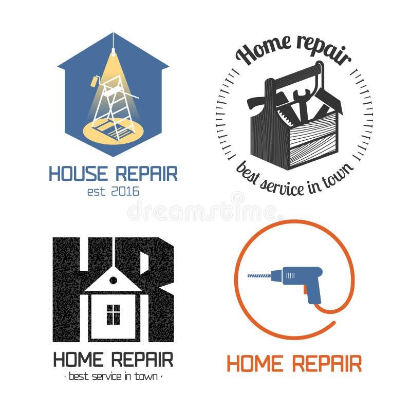 Uppsättningen av den hem- reparationen, hus omdanar vektorsymbolen, symbolet, tecknet, logo stock illustrationer